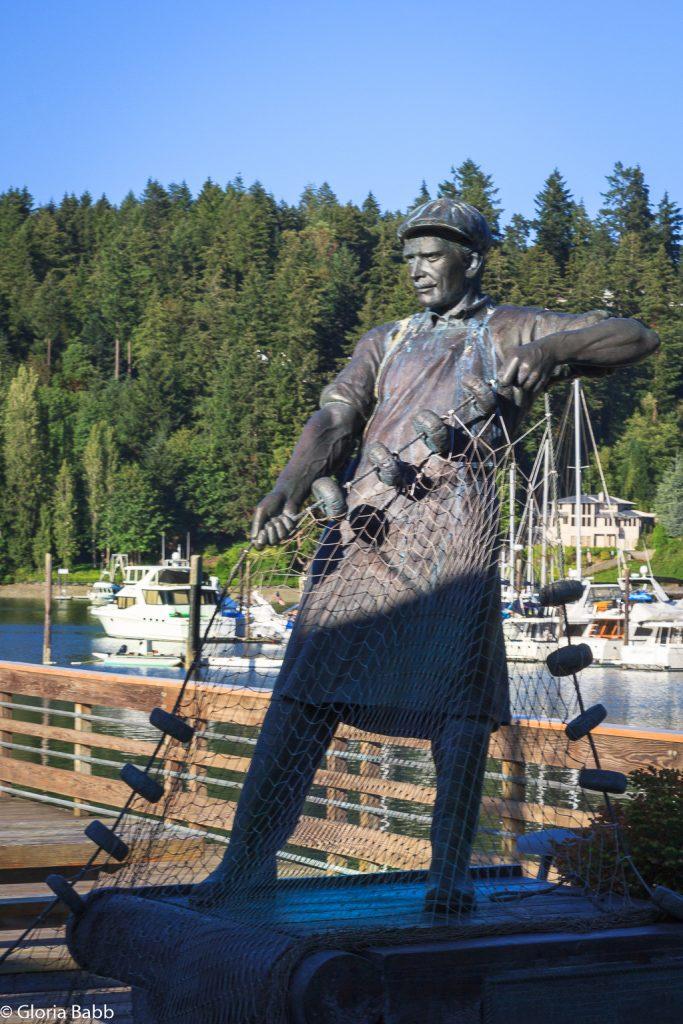 Gig Harbor Waterfront Fisherman Statue Carl Peterson Windermere Gig Harbor