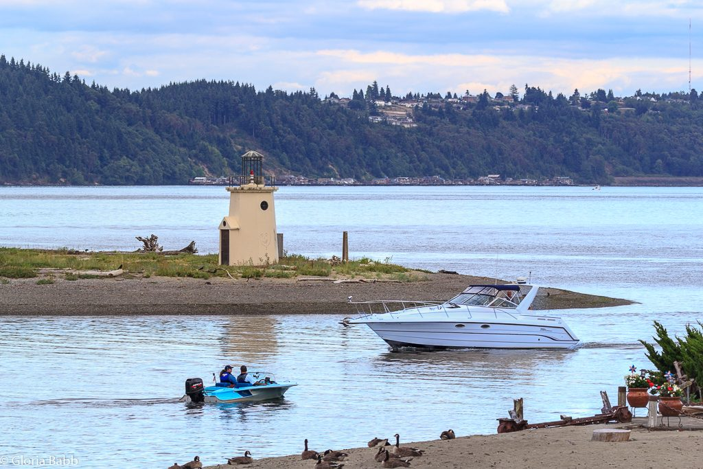 Gig Harbor Lighthouse and mouth of the Harbor.